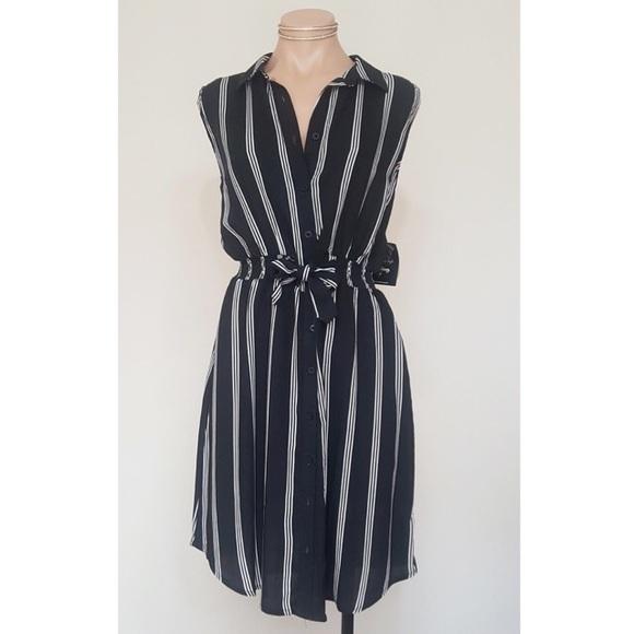 bc01daff3347 Sleeveless Stripe Button Down Midi Dress